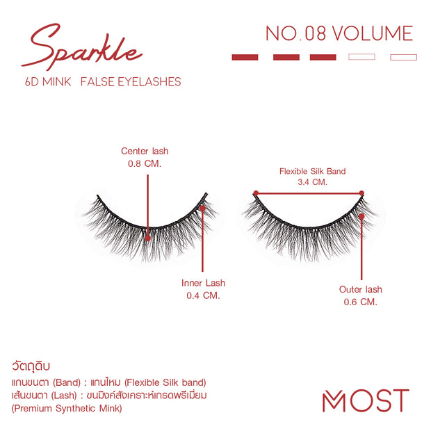 SPARKLE 6D MINK FALSE EYELASHES NO.08