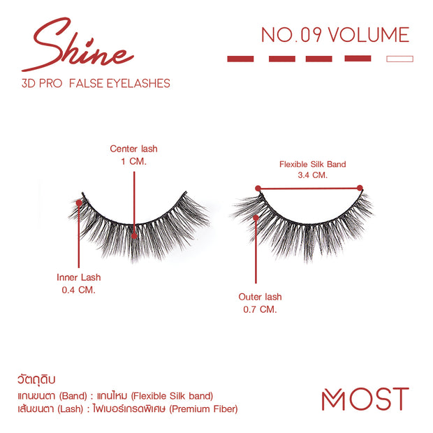 SHINE 3D PRO FALSE EYELASHES NO.09