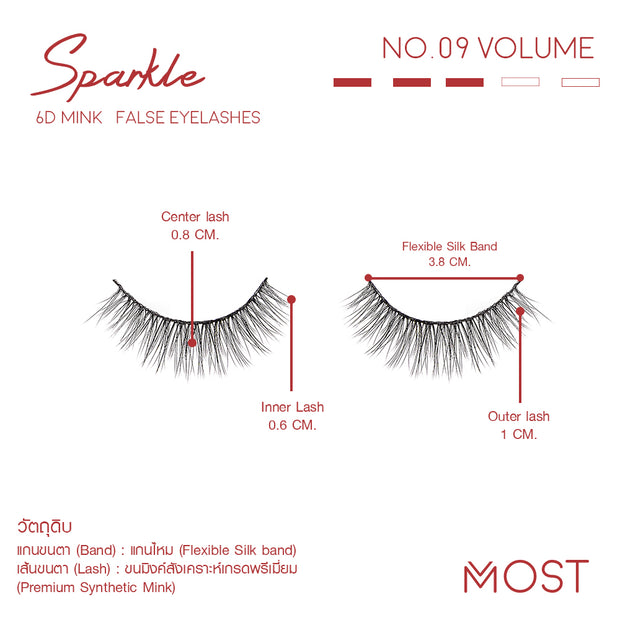 SPARKLE 6D MINK FALSE EYELASHES NO.09