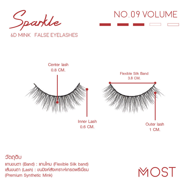 SPARKLE 6D MINK FALSE EYELASHES NO.09 (แพค 3 คู่)