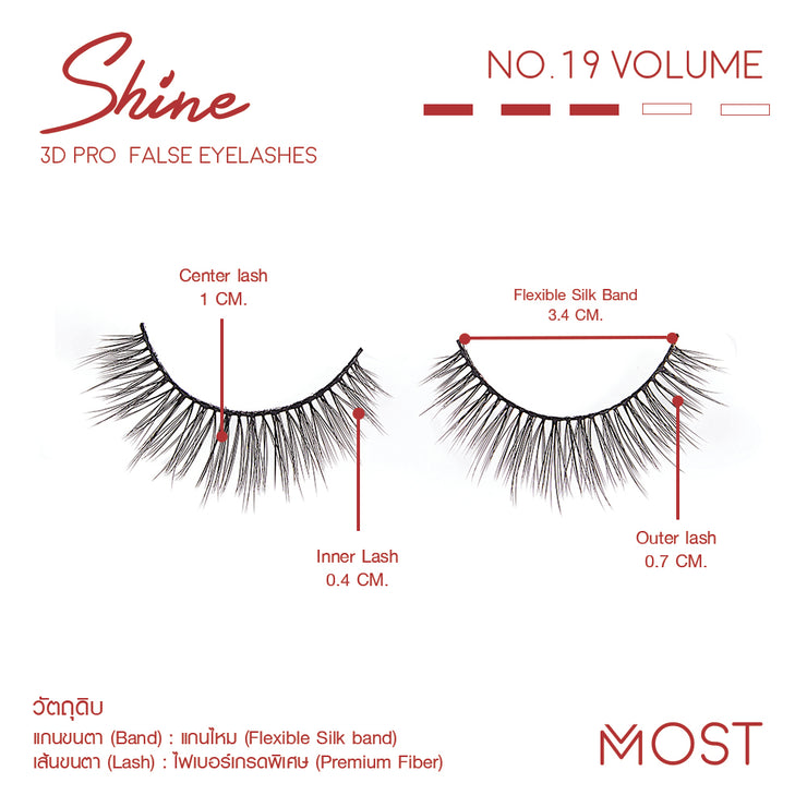 SHINE 3D PRO FALSE EYELASHES NO.19
