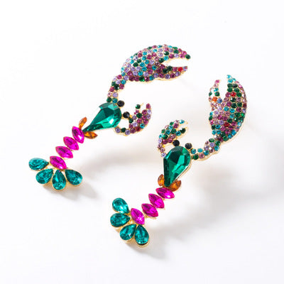 Colorful Dangle Crystal Lobster Earrings Drop Earring Sea Animal