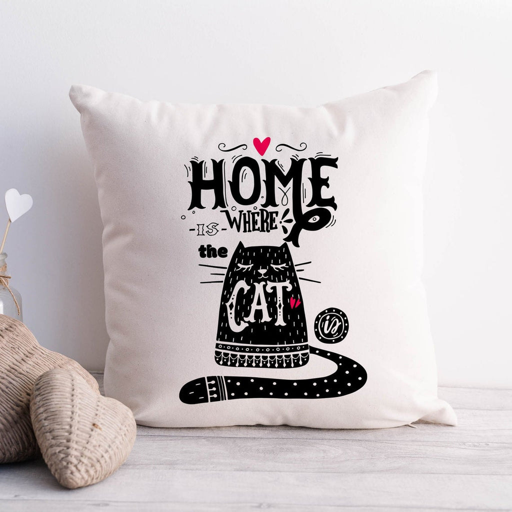Home is Where the Cat is Cushion Cover | Cat Lover Housewarming Gift