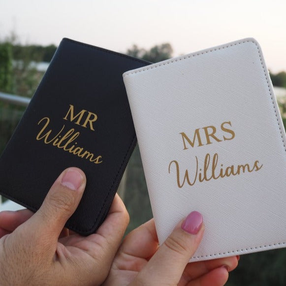 Mr and Mrs Wedding Personalised Passport Holders and Luggage Tags