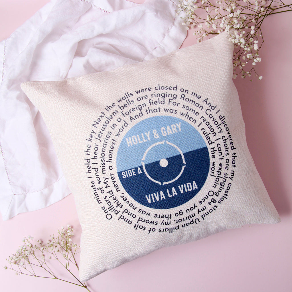 Wedding Song Lyrics Record Cushion Cover with Names and Date | Personalised Family Cushion