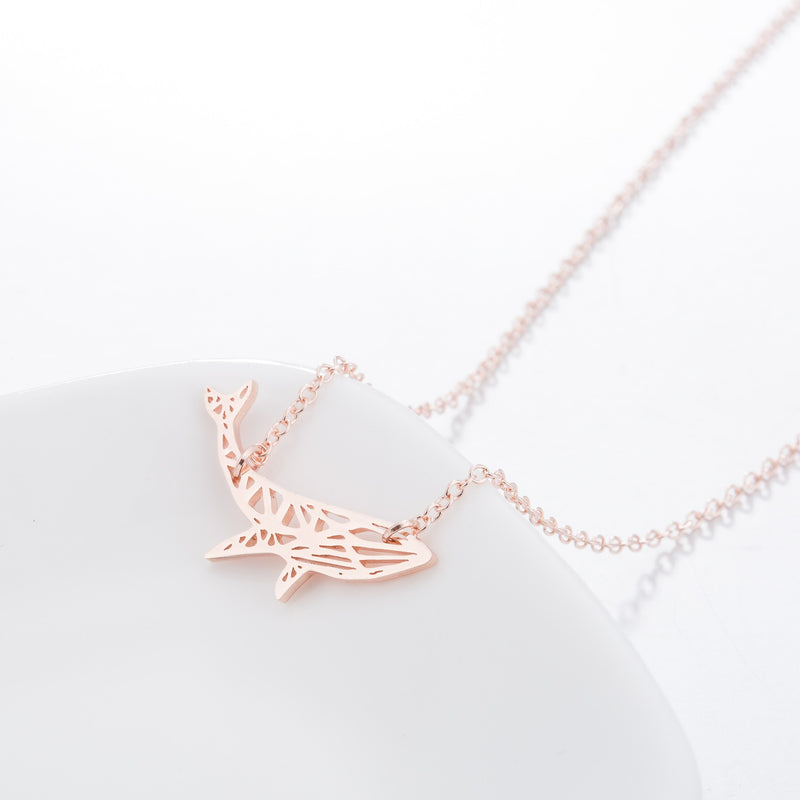 Minimalist Geometrical Whale Rose Gold Chain Necklace