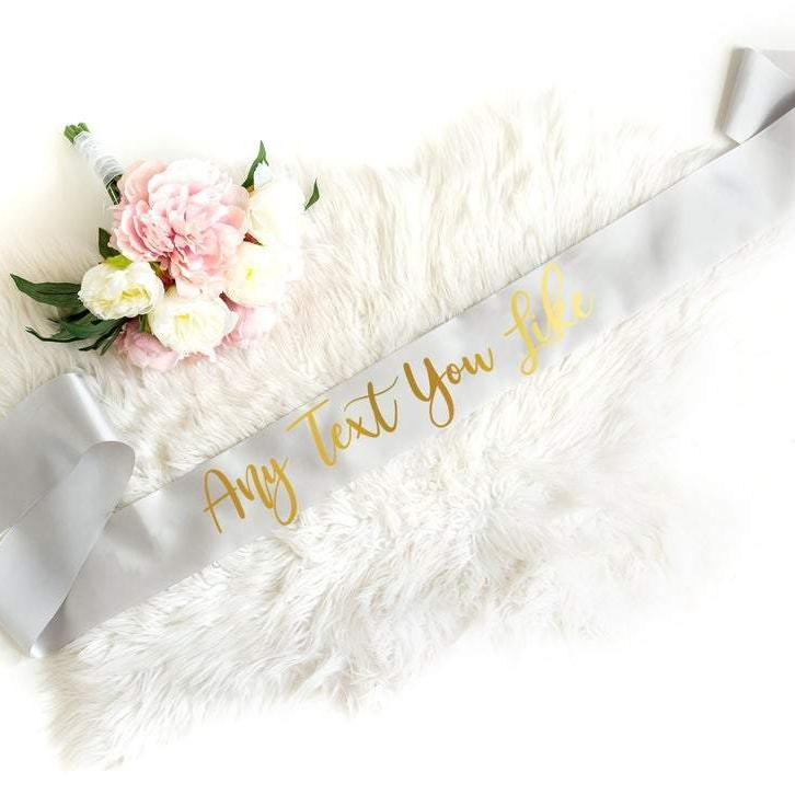 Gold and Rose Gold Personalised Custom Text Sash