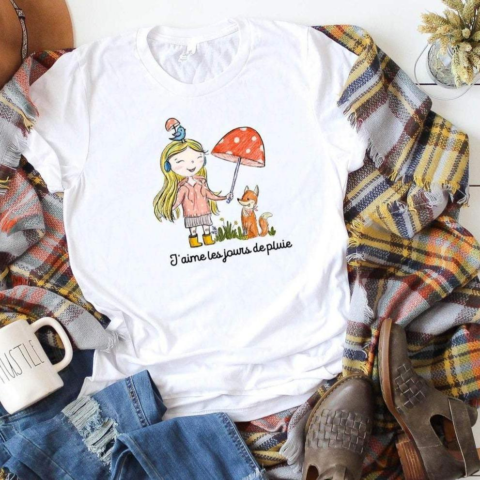 Hand Drawn Rainy Day Girl Illustration T-Shirt