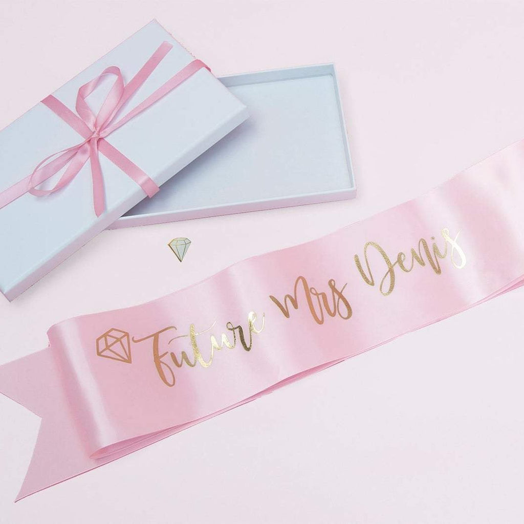 Hen Party Bride Sash with Diamond Pin