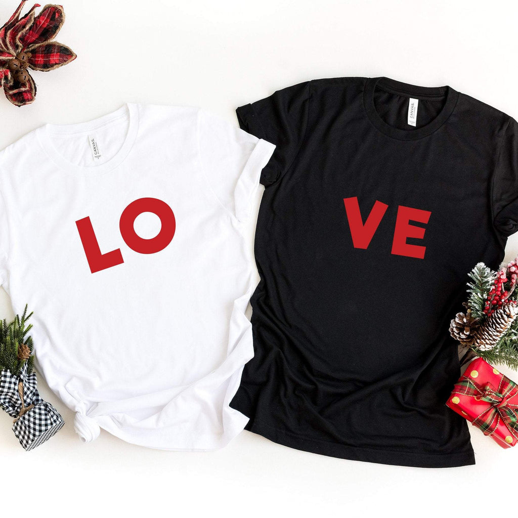 LOVE Valentines T-shirt Set | LO-VE Couples Shirt