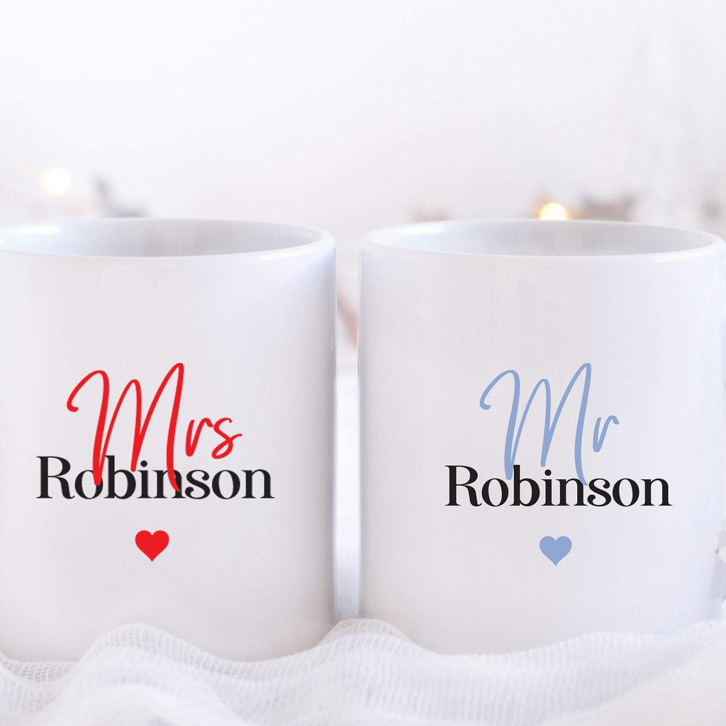 Mr and Mrs Personalised Mug | Mrs Surname Mug with Wedding Date