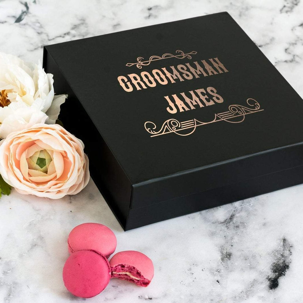 Personalised Bestman, Groomsman Black Gift Box