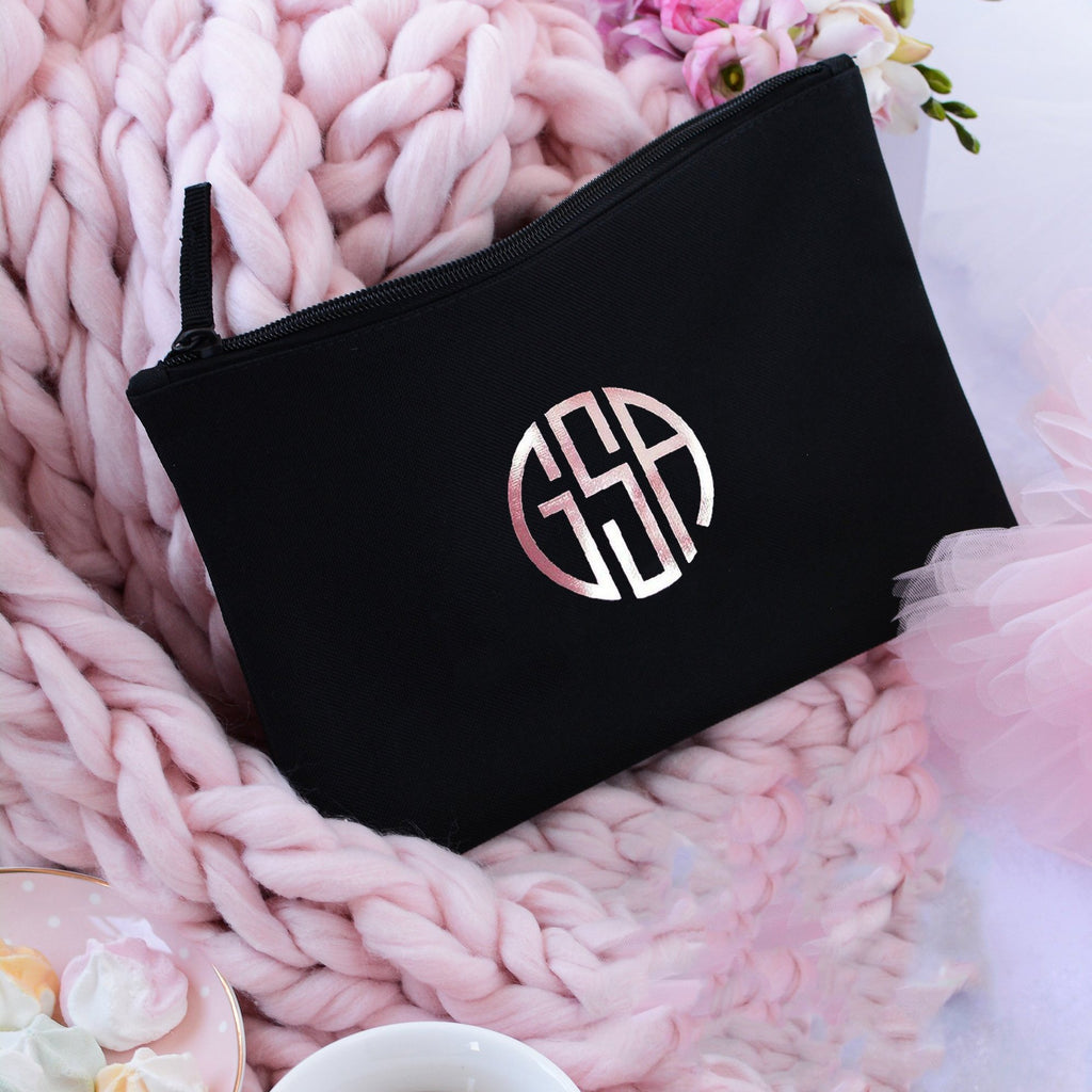 Personalised Bridesmaid Monogramed Make up Bag