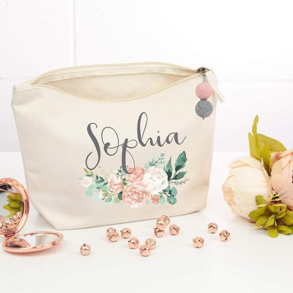 Personalised Bridesmaid Peony Makeup Bag with Pompom