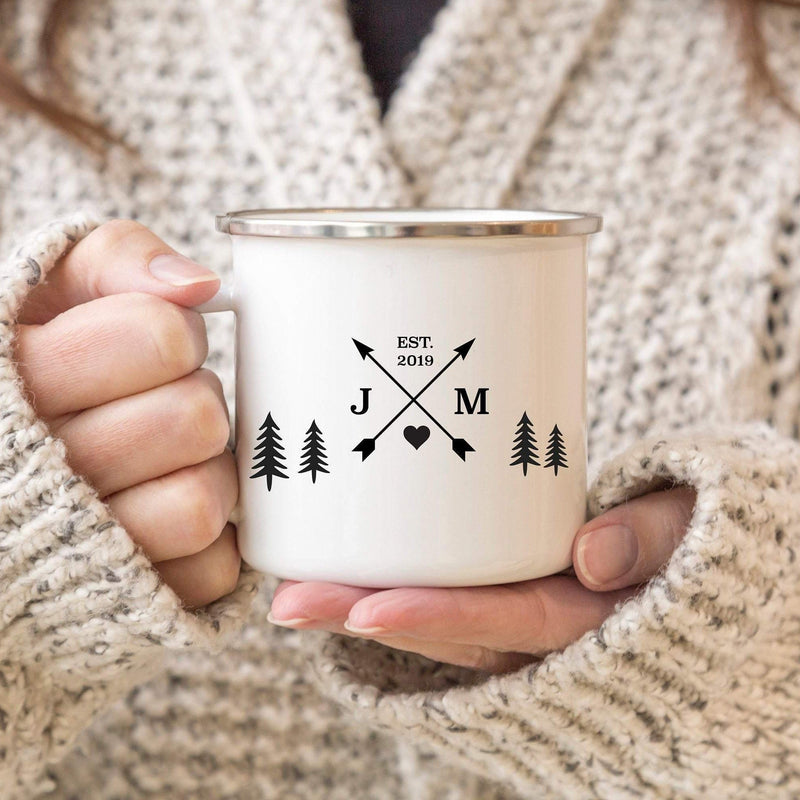 Personalised Campfire Mug with Initials and Date | Enamel Mug