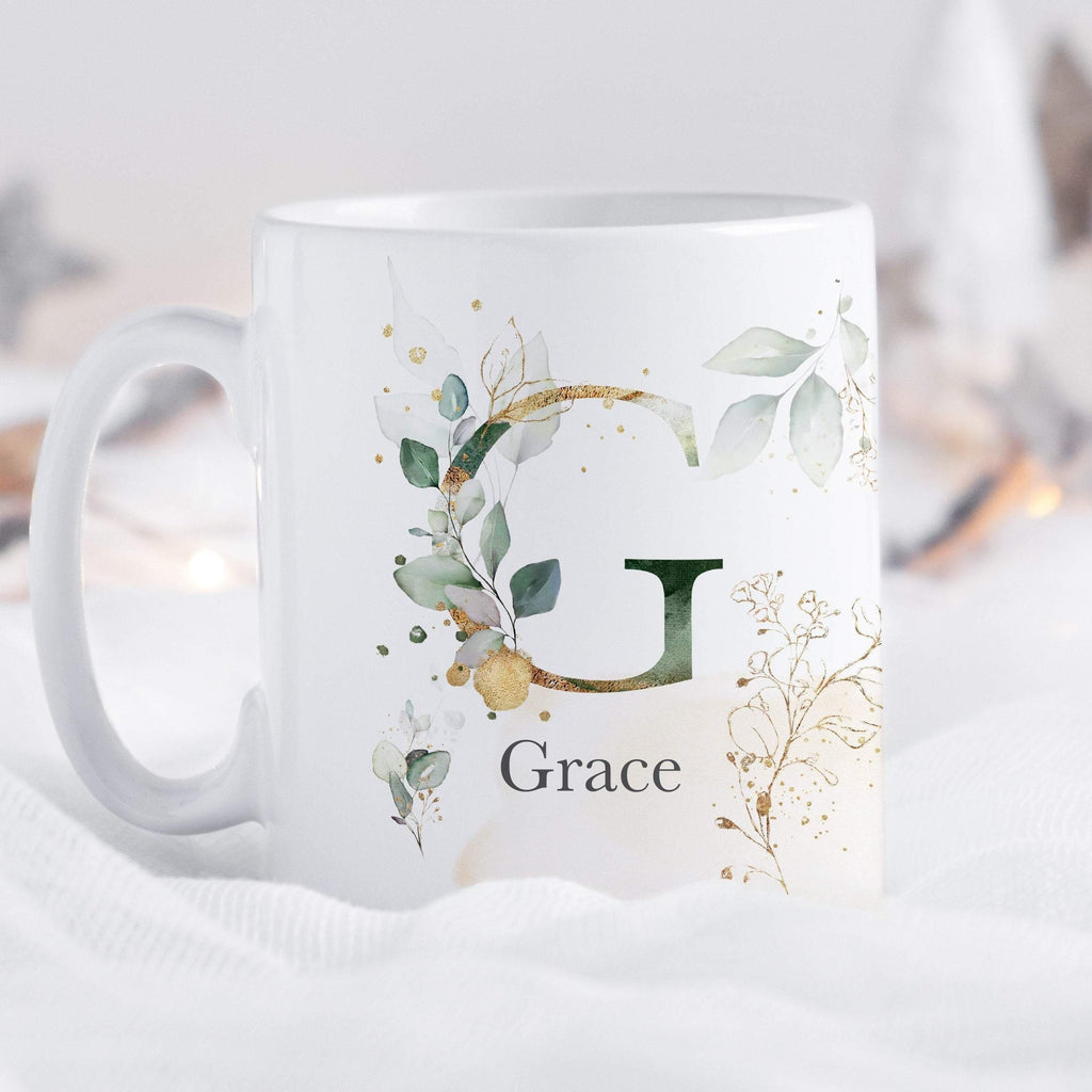 Personalised Christmas Gift Name Mug with Initial Letter | Watercolour Flowers Personalised mug
