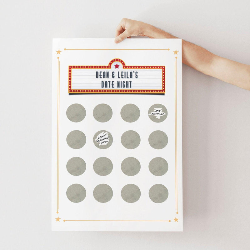Personalised DIY Date Night Scratch Poster for Couples