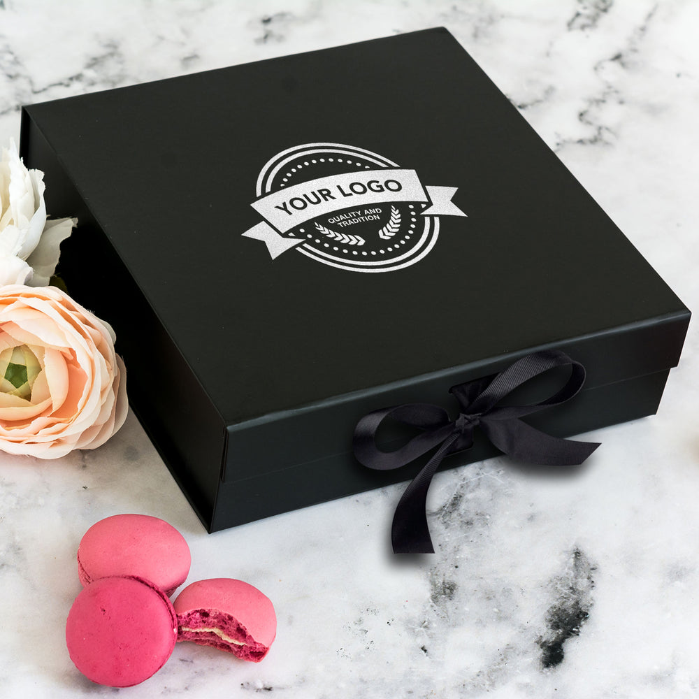 Custom Text Gift Box Happy Birthday Gift Box Any Text Box Real Foil Print Personalised Gift Box in Pink and Black with Real Foil