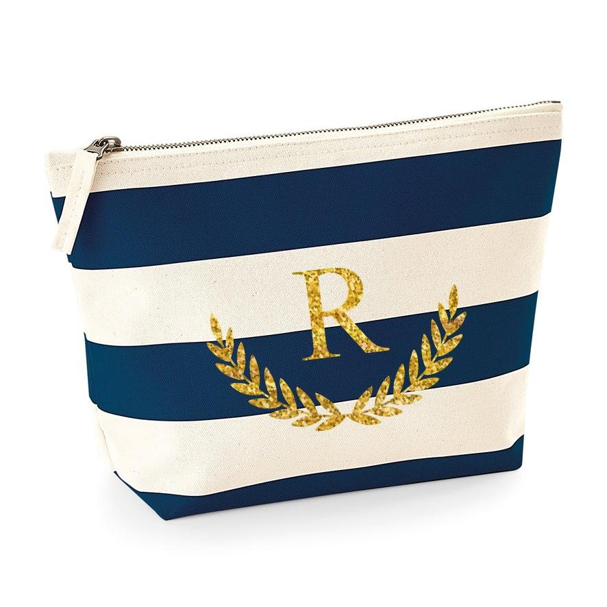 Personalised  Marine Theme Navy Monogram Bridesmaid Makeup Bag