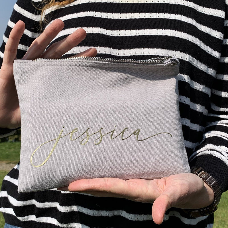 Personalised Monogram Makeup Bag | Navy Blue & Light Gray with Silver Zipper