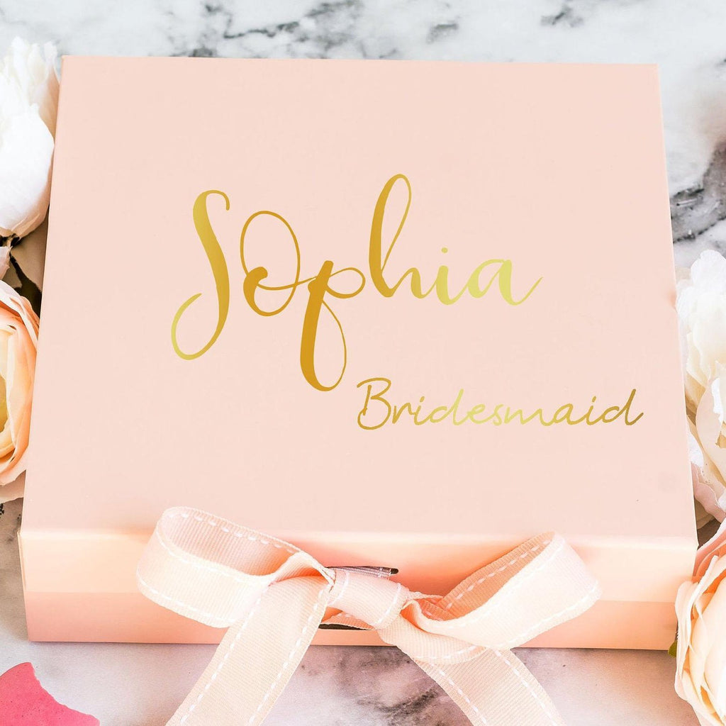 Personalised Pink Bridesmaid Proposal Gift Box