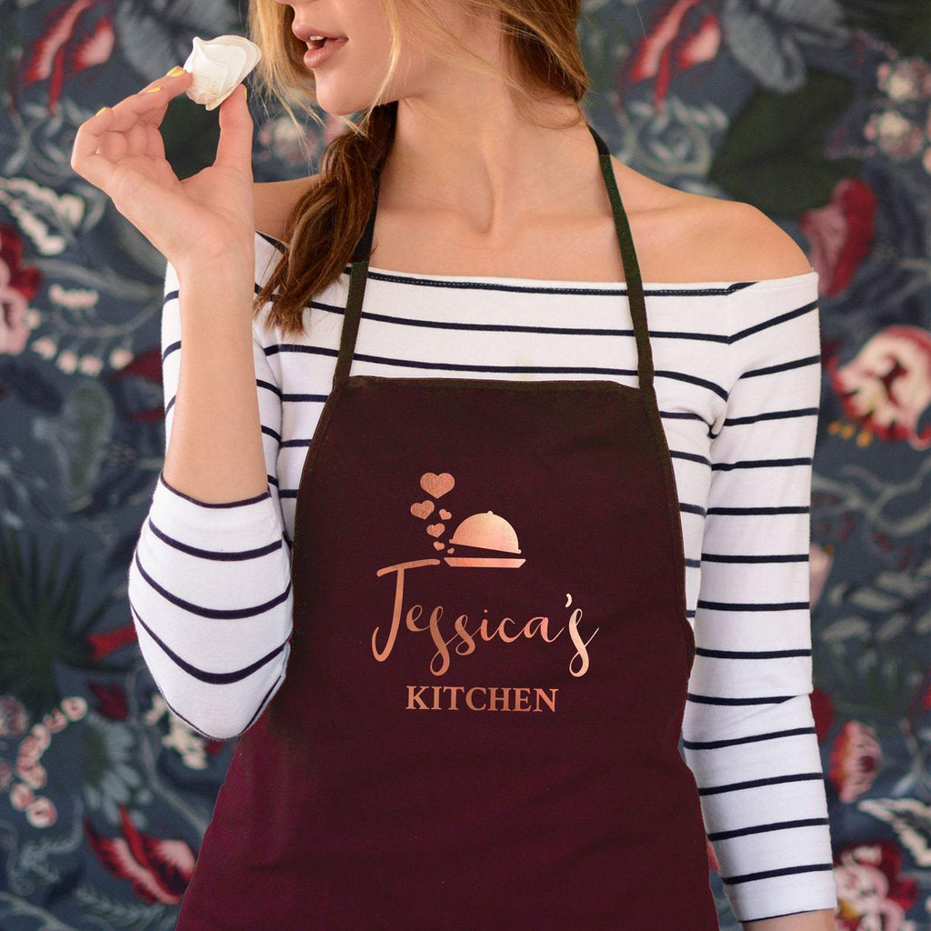 Personalised Rose Gold Apron | Name Kitchen Apron Cooking Baking Gift