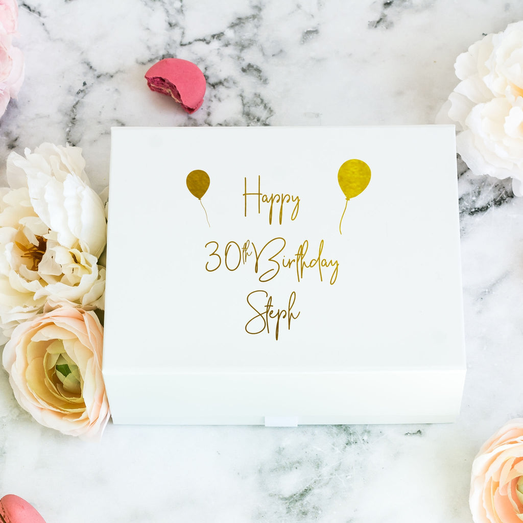 Personalised White Birthday Gift Box with Balloons
