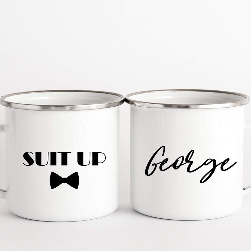Suit Up Enamel Mug Bestman Proposal Gift
