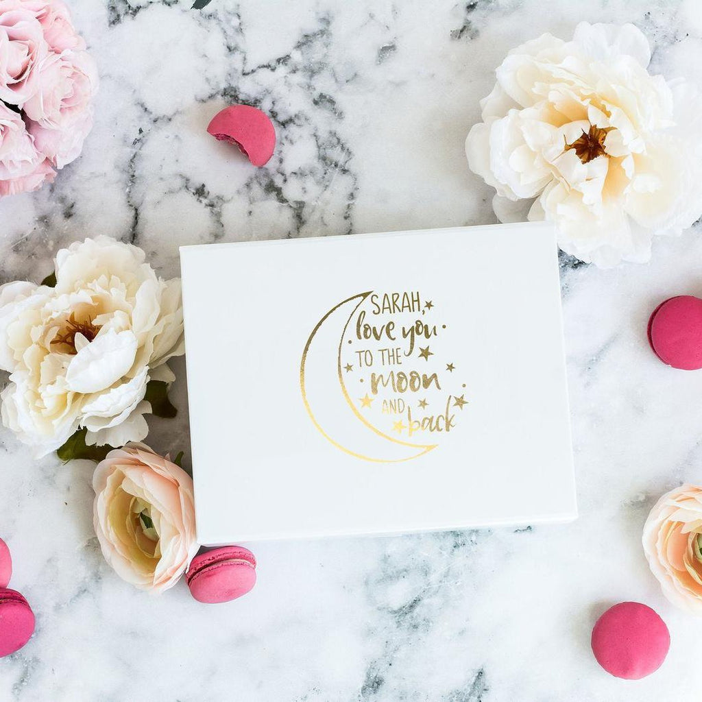 White Gift Box with Name Love you to the Moon and Back Print