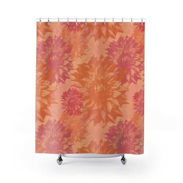 Peach and Pink Dahlia Floral Shower Curtain