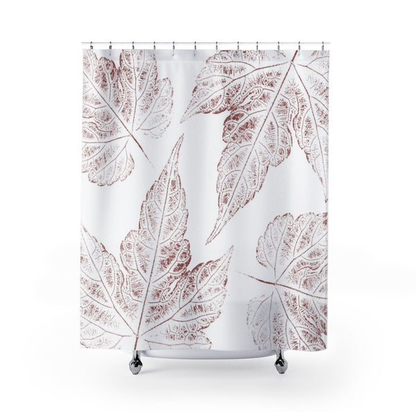 Maroon / Burgundy Leaves Oversized Ink Prints for Modern Botanical Bathroom - Metro Shower Curtains