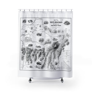 Vintage White Mountains National Forest Map Black and White Shower Curtain - Metro Shower Curtains