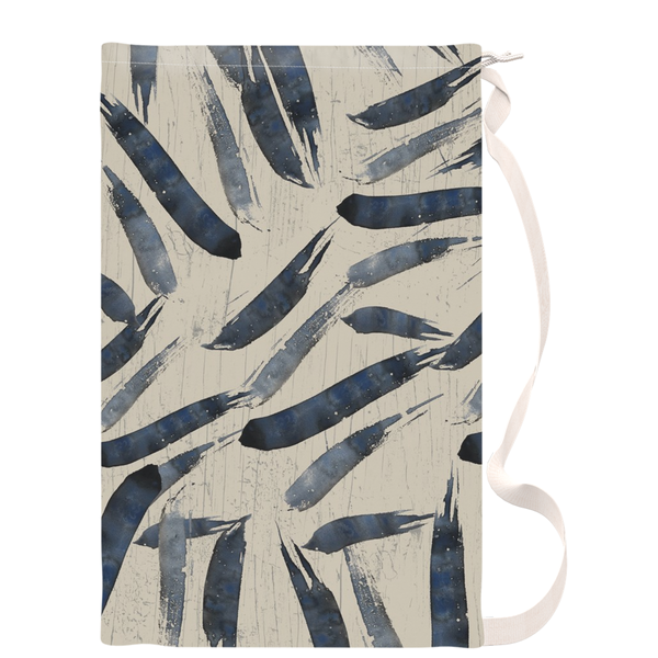 Laundry Bag with Indigo Japanese Brush Strokes - 18x32 inch