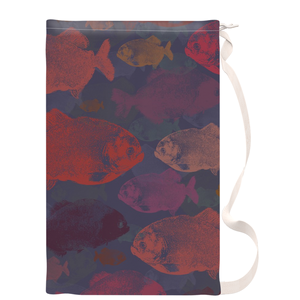 Red Piranha Fish Art Laundry Bag - Metro Shower Curtains