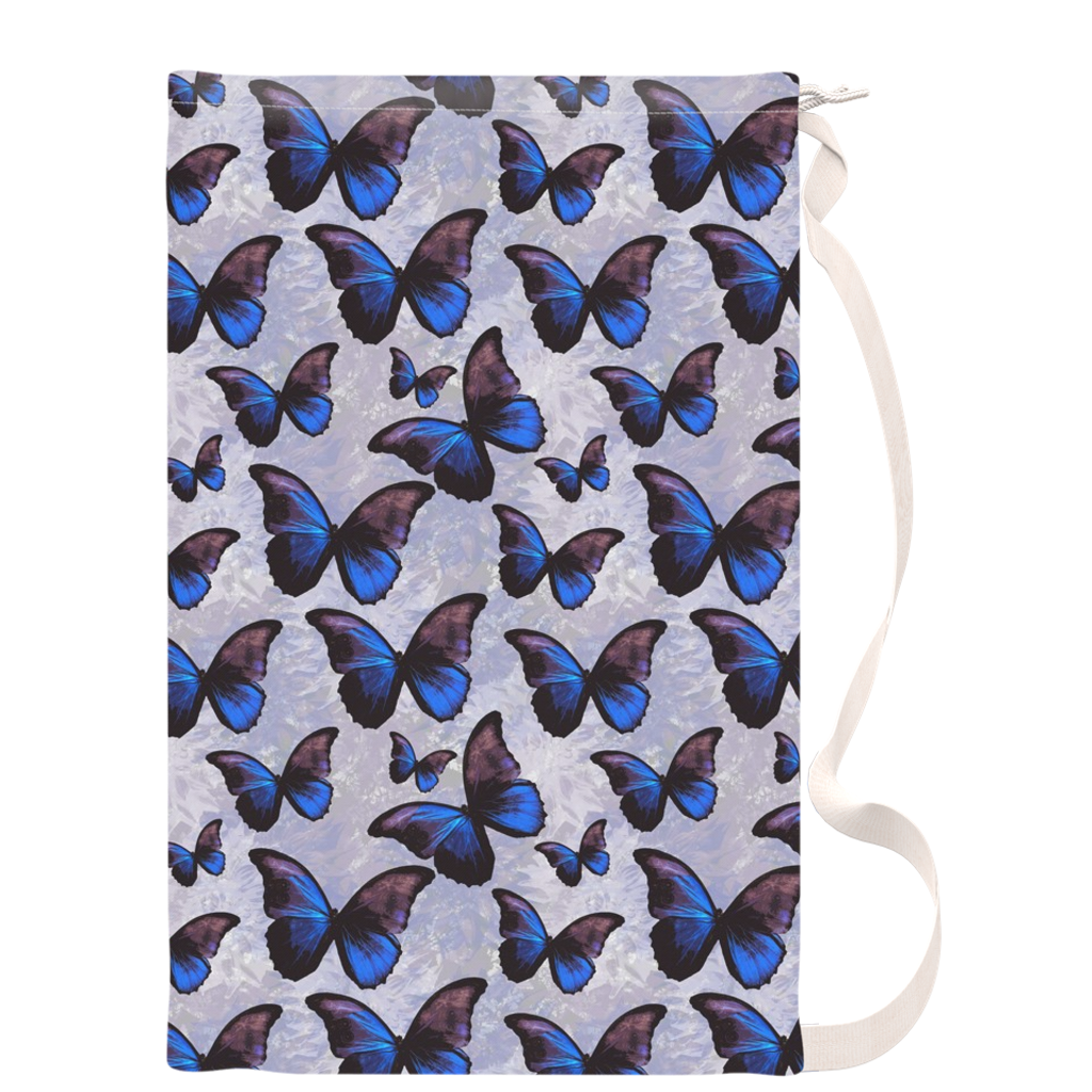 Purple and Blue Morpho Butterfly Canvas Laundry Bag - Metro Shower Curtains