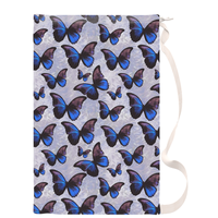 Purple and Blue Morpho Butterfly Canvas Laundry Bag