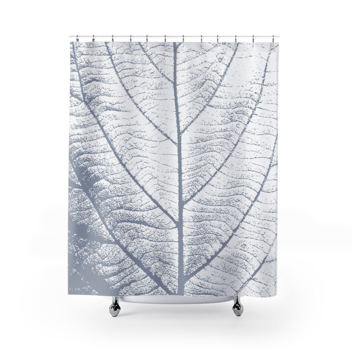 Soft Steel Blue and White Large Leaf Art Shower Curtain - Metro Shower Curtains