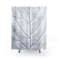 Oversized Blue and White Leaf Shower Curtain