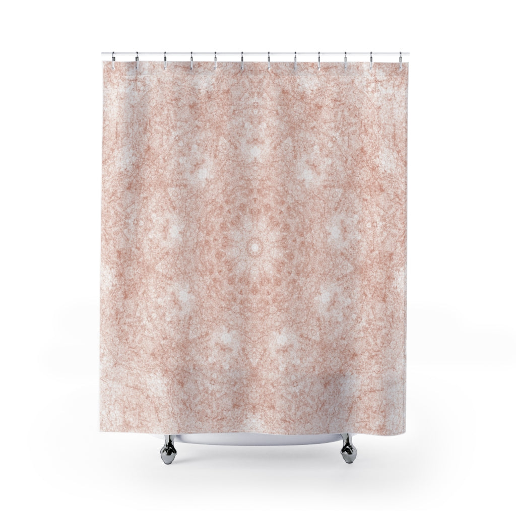 Terra Cotta on White Soft Mandala Print Fabric Shower Curtain for Earthy Boho Bathroom - Metro Shower Curtains