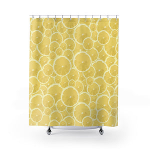 Lemons Forever Printed Yellow Fabric Shower Curtain - Metro Shower Curtains