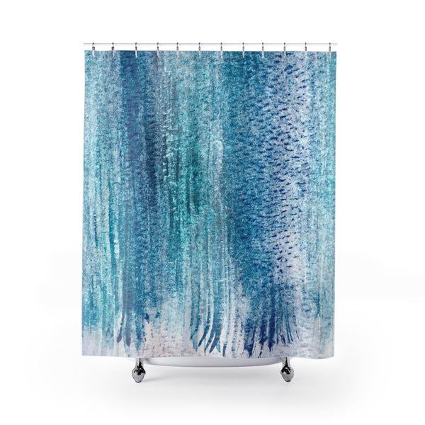 Aqua Blue Watercolor Stripes Shower Curtain - Metro Shower Curtains