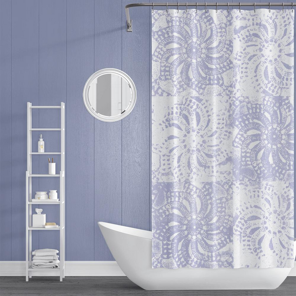 Periwinkle and White Lace Mandala Shower Curtain - Metro Shower Curtains
