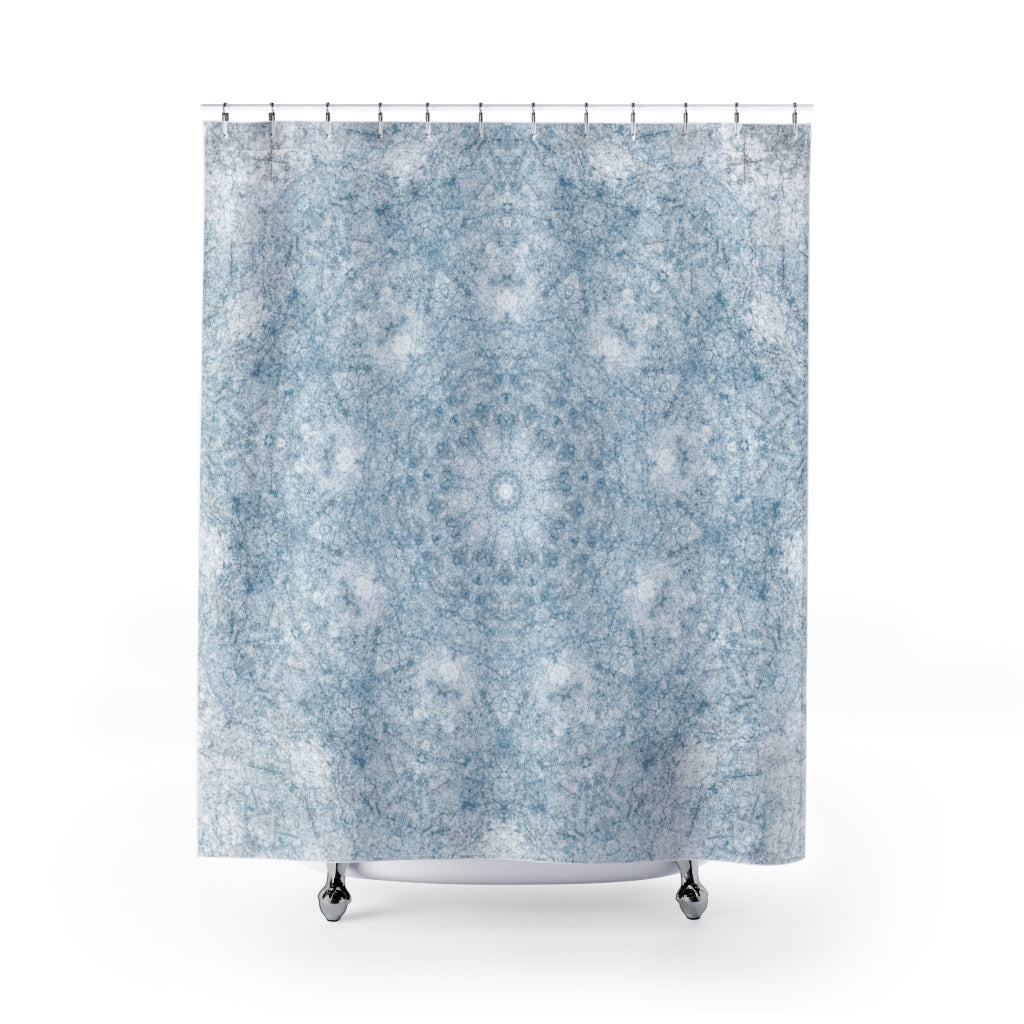Blue and White Textured Mandala Pattern Shower Curtain for a Clean Rustic Bathroom - Metro Shower Curtains