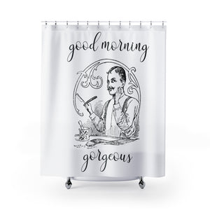 Good Morning Gorgeous Vintage Razor Ad Shower Curtain - Metro Shower Curtains