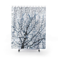 Tree in the Rain Black White and Blue Shower Curtain