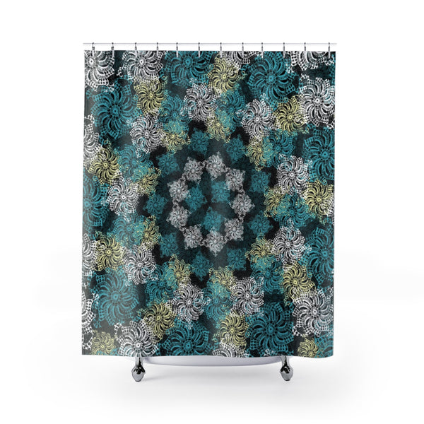 Black Turquoise and Yellow Modern Boho Lace Mandala Shower Curtain