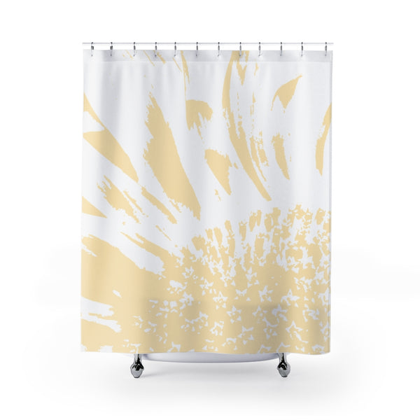 Sunflower Shower Curtain - Pale Yellow & White / Monochrome Large Scale Abstract Bathroom Art Print - Metro Shower Curtains