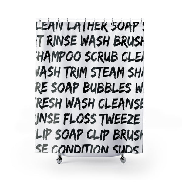 Clean words black typography shower curtain