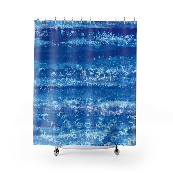 Deep Blue Watercolor With Lace Mandala Shell Print Shower Curtain - Metro Shower Curtains
