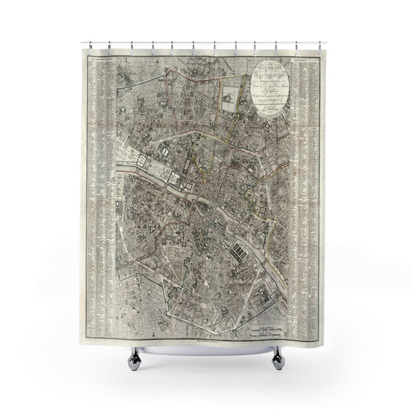 Vintage Map of Paris Shower Curtain - Metro Shower Curtains